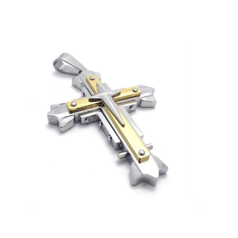 Self Defense Titanium Steel Gold Cross Pendant Rotating Stainless Steel Necklace Scripture Boys And Girls Jewelry Pendant