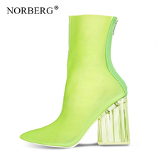 2019 fashion hot new womens shoes PVC ankle boots pointed crystal heel transparent high heels summer
