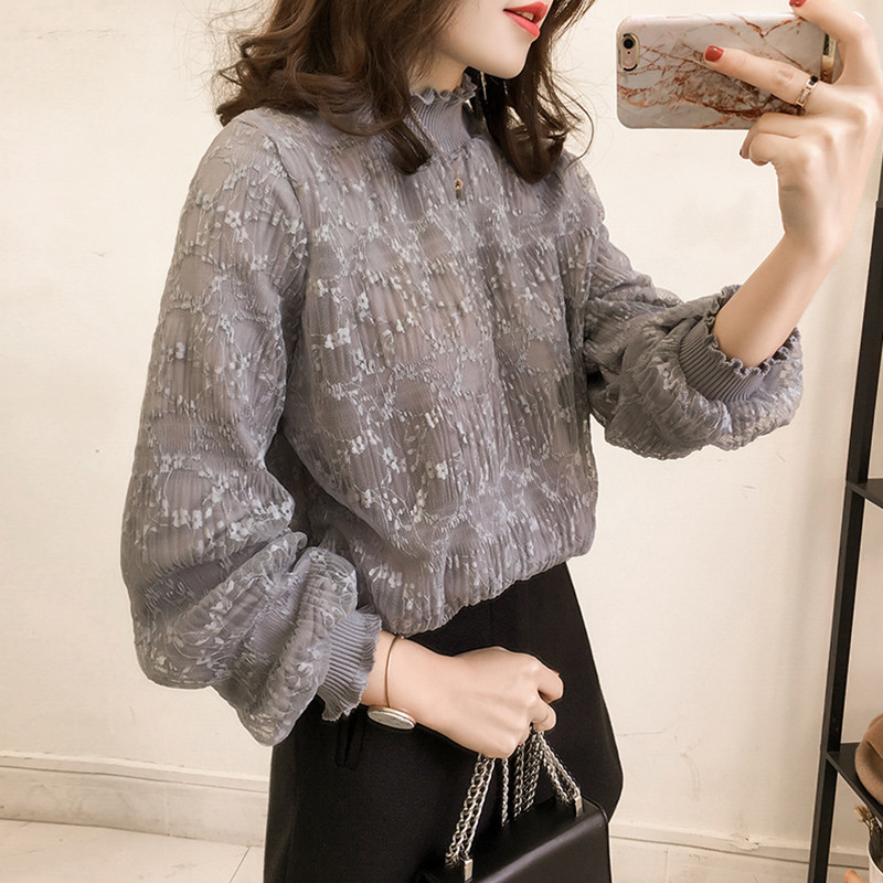 Grey Mesh Lace Women Blouses Turtleneck Lantern Long Sleeve Loose Plus Size Top Female Office Lady White Pullover Elegant Retro
