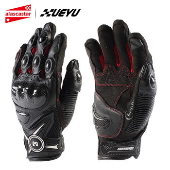 XUEYU Motorcycle Gloves Men Leather Guantes Motocross Guantes Moto Loves Off-Road Motorbike Full Finger Touch Screen Gloves