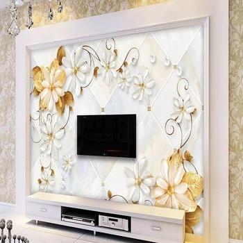 Custom large mural 3D wallpaper Modern fashion creative flower luxury pearl gem marble pattern wall decor 5D embossed