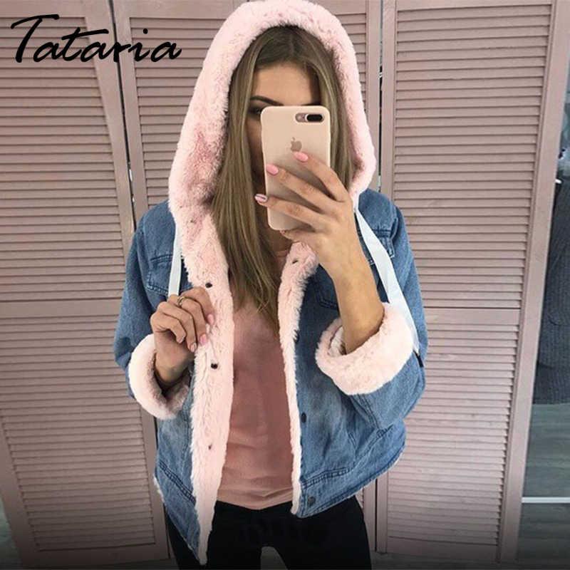 Tataria المرأة الشتاء زائد المخملية السيدات الدنيم سترة للنساء الدافئة سميكة مقنعين سترة كلية الرياح السيدات الدافئة الدنيم سترة