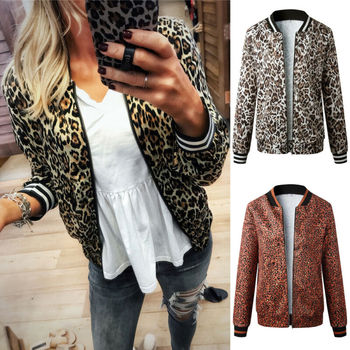 Fashion Women Leopard Zipper Up Jacket Coat Lady Long Sleeve Slim Fit Jacket Outwear