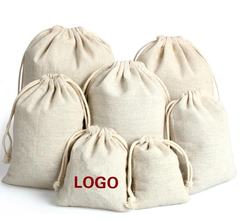 20PCS Cotton Linen Gift Bag Custom Jewelry Packaging Drawstring Pouch Makeup Wedding Party Candy Storage Bag Sachet Print Logo
