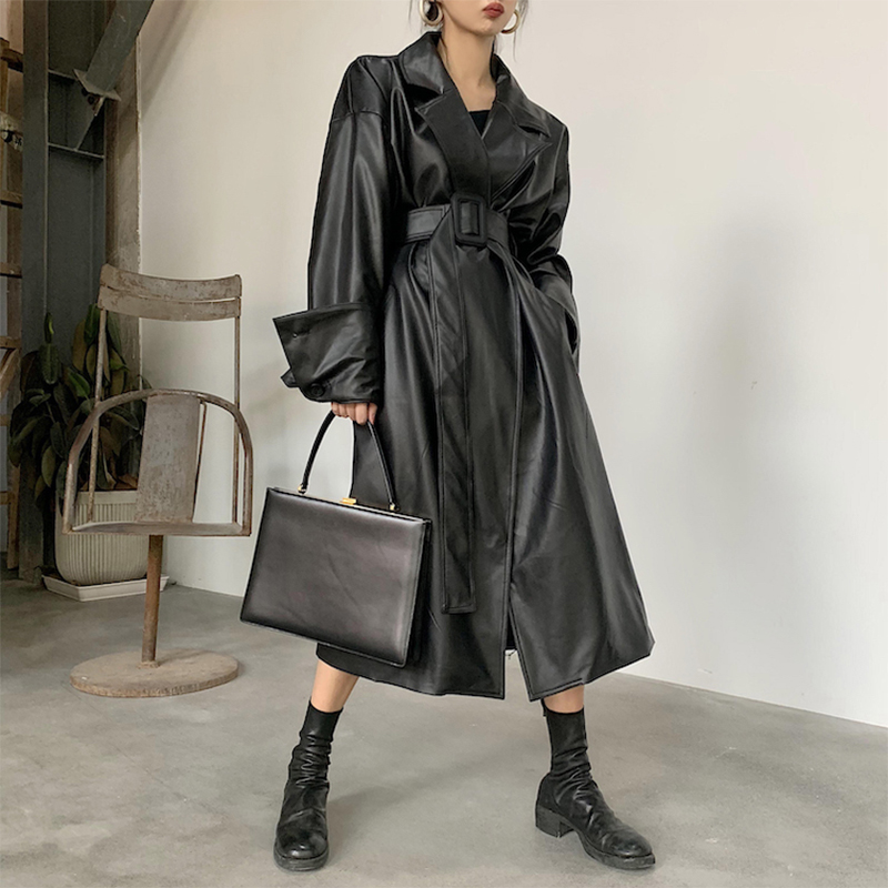 Lautaro Long oversized leather trench coat for women long sleeve lapel loose fit Fall Stylish black Lautaro Long oversized leather trench coat for women long sleeve lapel loose fit Fall Stylish black women clothing streetwear