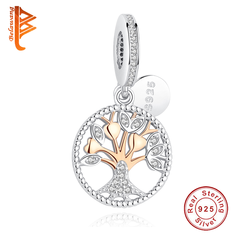 BELAWANG Authentic 925 Sterling Silver Beads Rose Gold Family Tree Dangle Charm Fit Original Pandora Bracelet DIY Jewelry Making(China)