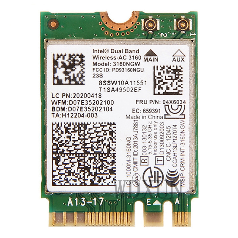 Intel AC 3160 NGW Wireless Network Card Wifi Adapter   BT 4 0 Dual Band Special for Lenovo 04X6034  Y40 Y50 G40 G50 B40 Z50