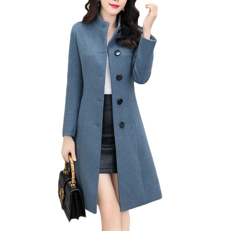 New Autumn Winter Woolen coat Women long Korean Thicken Warm Wool coat Jacket Blue Women's Single-breasted Casual Overcoat F992