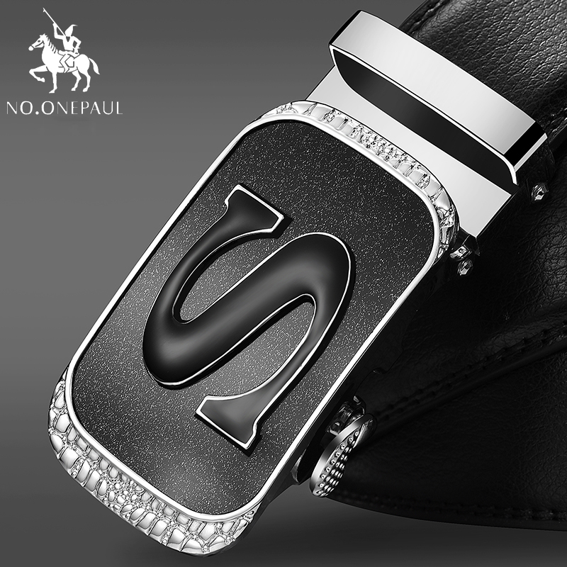 NO.ONEPAUL New Arrival Cow Genuine Leather Men's Belt Cowhide Buckle Belts For Men Black Buckle Belts Strap For Male Automatic