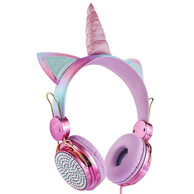 Cartoon Unicorn Wired Headphone Girls Daughter Music Stereo Earphone Computer Phone Headset Kids Gift Cute Unicorn With Mic 4