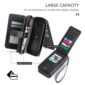 Image 2 - Megshi multifuncional caso de telefone couro para huawei p20 p30 p40 mate20 mate30 caso zíper bolsa coque