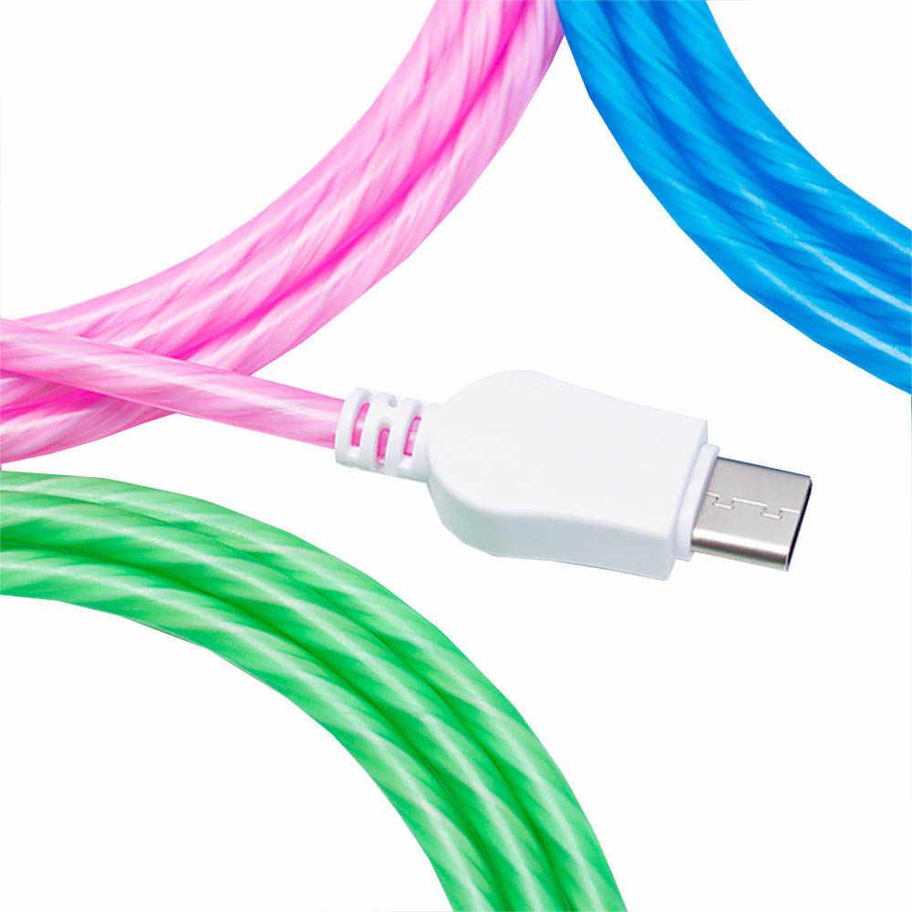 携帯電話ケーブルマイクロ USB 点滅ケーブル Usb タイプ C 充電ケーブル 2A 赤、ピンク、白緑 1 メートル 2M