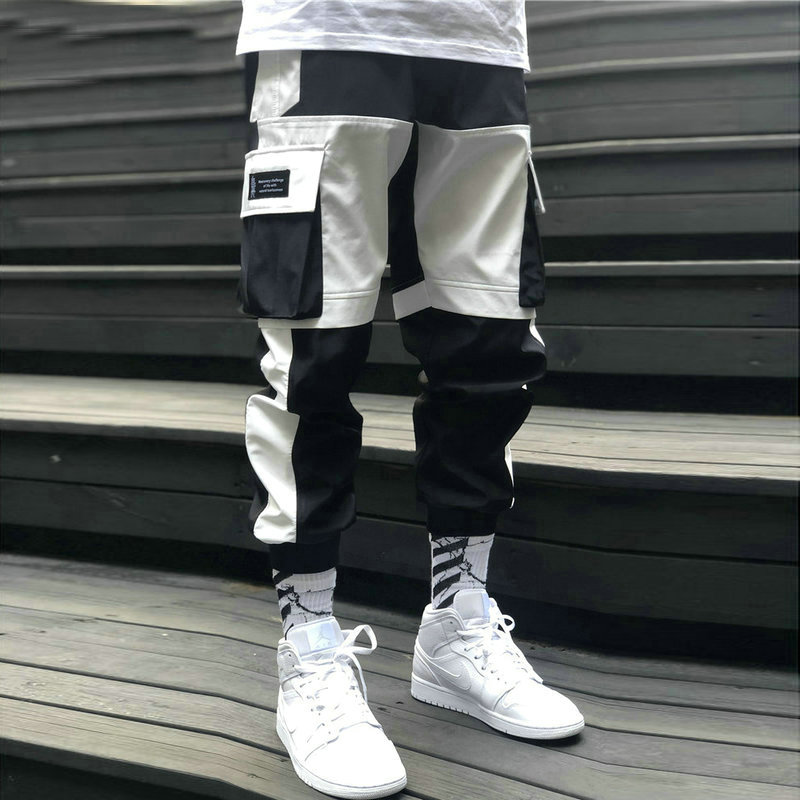 2020 Spring Summer New Men Cargo Pants Cotton Hip Hop Mid Drawsring Pockets Full Length Men Black White Men Trousers Streetwear