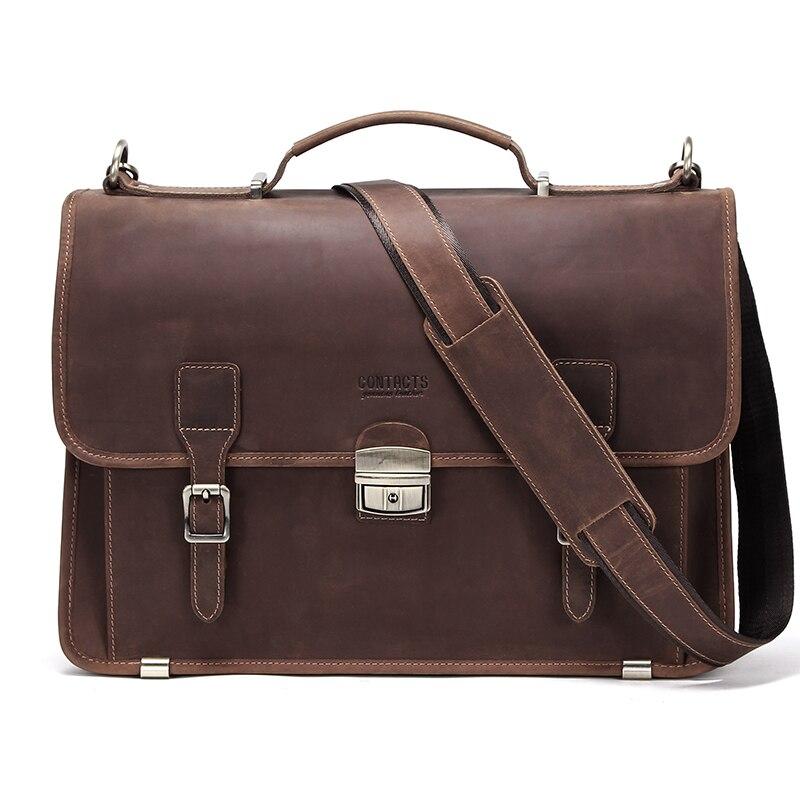 Контактная Ретро Мужская сумка Crazy Horse кожаный мужской портфель сумка для ноутбука 14 дюймов мужские деловые сумки на плечо большая ВМЕСТИТЕЛЬНОСТЬ - 2