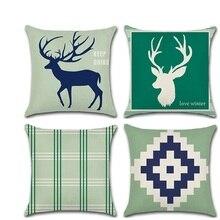 Nordic Throw Pillow Cushion Covers Elk Geometry kussenhoes Pillowcase housse de coussin Christmas Decorative Sofa Fundas Cojines стоимость