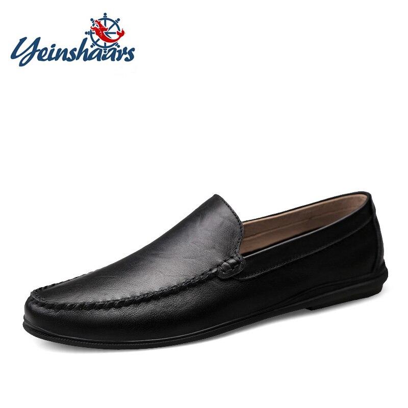 Yeinshaars italiano dos homens sapatos casuais marca de luxo verão mocassins couro dividido confortável respirável deslizamento em sapatos de barco