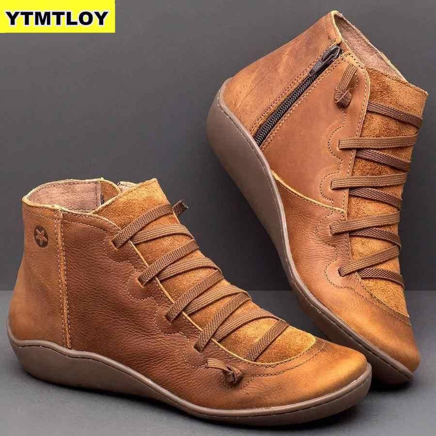 2020 נשים של עור מפוצל קרסול מגפי נשים סתיו חורף צלב רצועות בציר פאנק מגפיים שטוחים גבירותיי נעלי אישה Botas Mujer