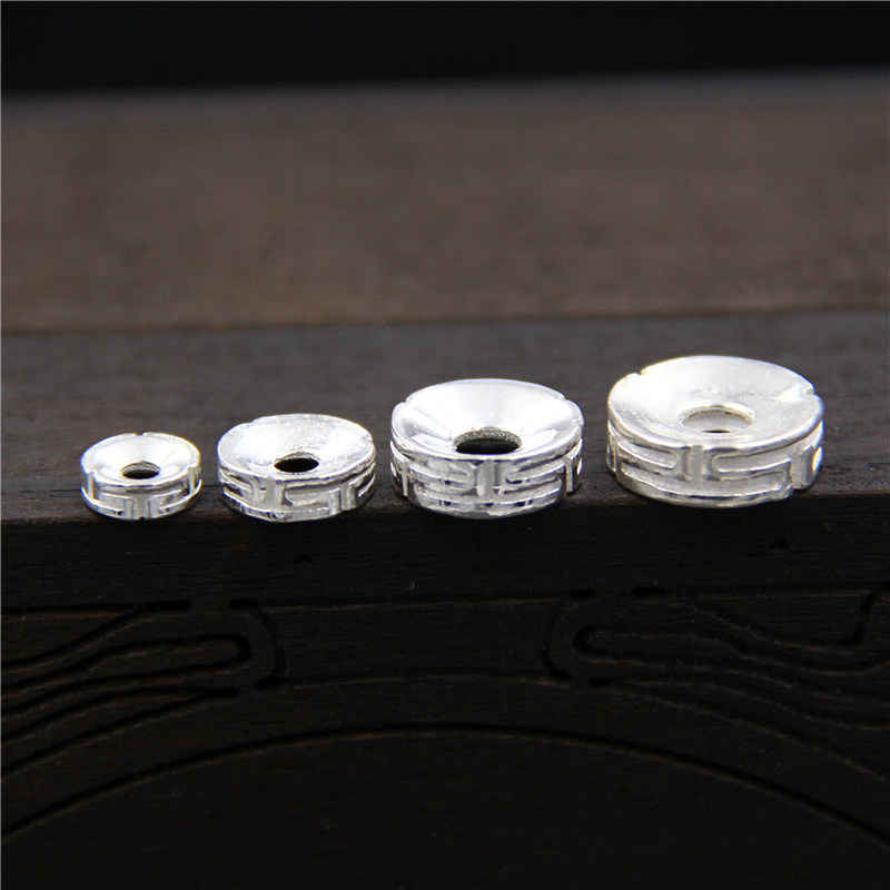 100% 925 Sterling Silver  Loose Beads Separate Spacer Beads For DIY Bracelet Necklace Jewelry Findings&Components