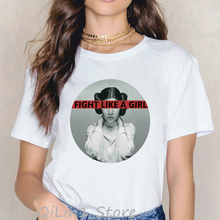 Star wars t shirt women funny fight like a girl tee shirt femme 90s feminist tsh