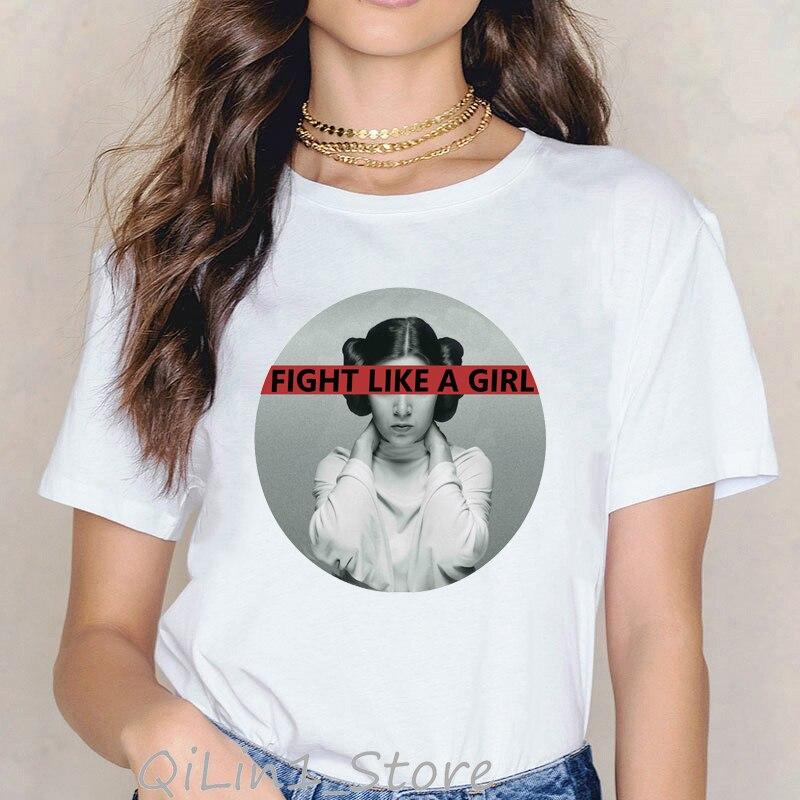 Star Wars T Shirt Women Funny Fight Like A Girl Tee Shirt Femme 90s Feminist Tshirt Summer Top Female Girl Power White T-shirt