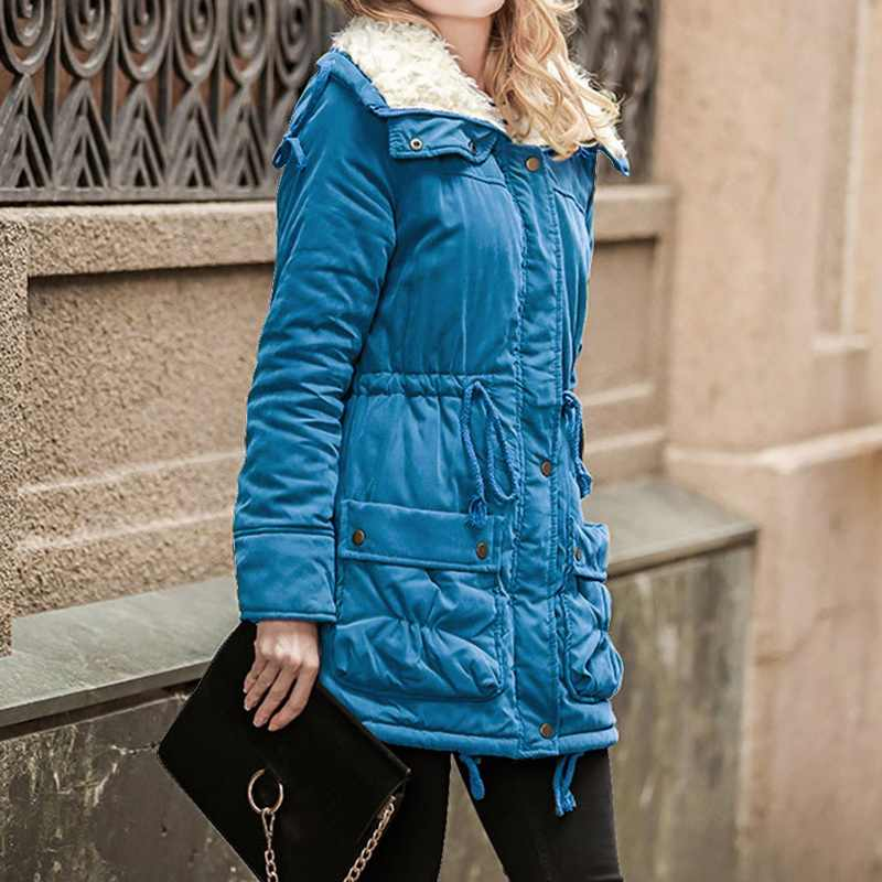 パーカー冬ジャケット女性ファッション長袖コートフェイクファースリムフィットダウンジャケット Chaquetas Chamarras 雪 Outwears コート 2019