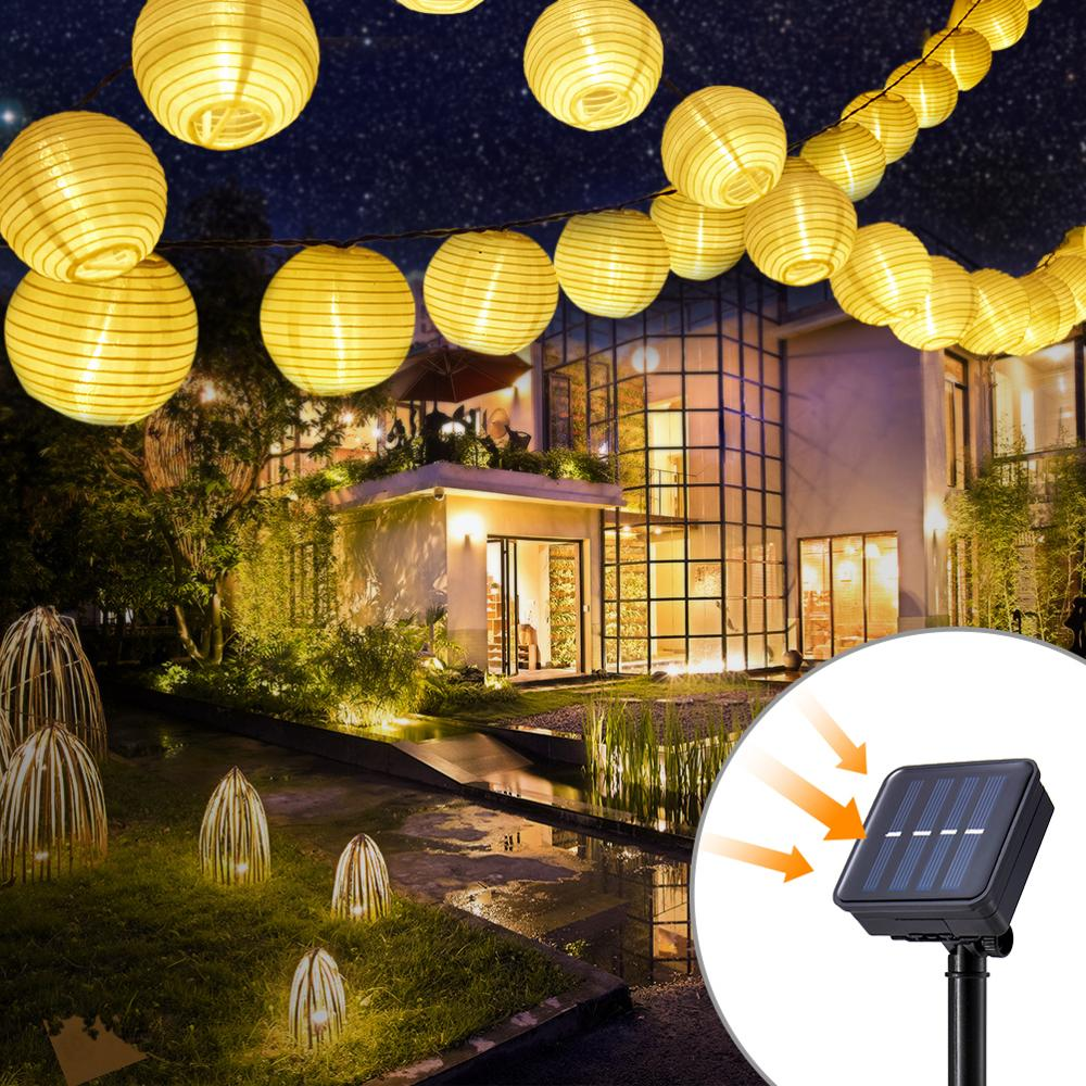 Garland Solar String Lights Lantern Ball 10/20 LED Solar Outdoor Lighting Christmas Decorative For Party Holiday Fairy Lights