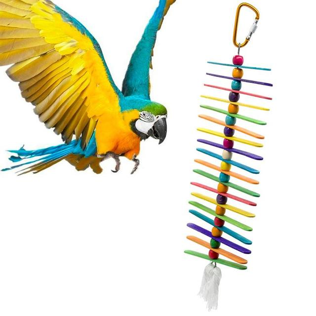 Colorful Ladder Bird Toy Cage Accessories Flexible Bite String Ladders Wooden Rainbow Bridge for Parrots Trainning 4