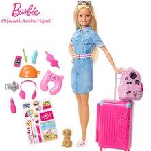 Original Barbie Dolls Brand Travel Girl with Puppy Assortment Fashionista Doll Toys for Children Bir