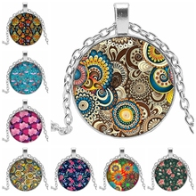 2019 New Many Beautiful Colorful Floral Pattern Glass Convex Round Necklace Pendant Banquet 3 Color Optional