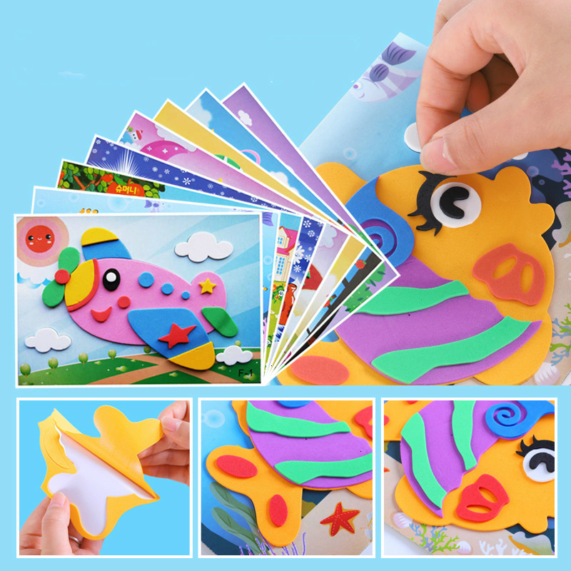 DIY Creative Cartoon Animal 3D EVA Foam Sticker Puzzle 20 Styles Handmade Early Learning Educational Toys For Children Kids Gift