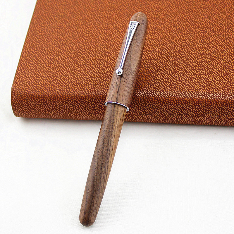 nova jinhao caneta fonte de madeira natural artesanal completa textura bonita 0 5 nib moda escrita