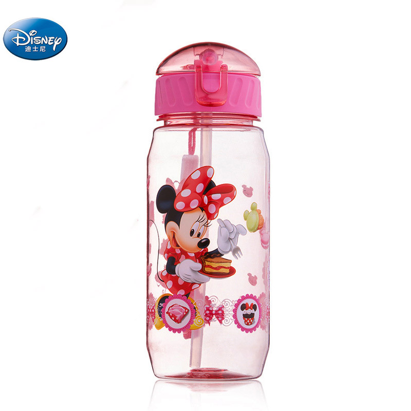 Girls Cartoon Princess  Mickey Minnie  Mouse Water Cups With Straw Boys Disney Student Outdoor Drinking Water Bottle Kids Gift