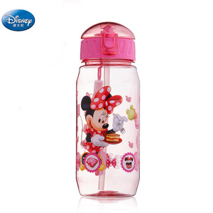 girls Cartoon princess Mickey Minnie Mouse water cups With straw boys disney student outdoor Drinking water bottle kids gift(China)