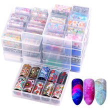 10 Pcs Holographische Nagel Folie Set Transparent Leopard AB Farbe Nail art Dekoration 4*60cm Maniküre DIY Holo transfer Aufkleber(China)