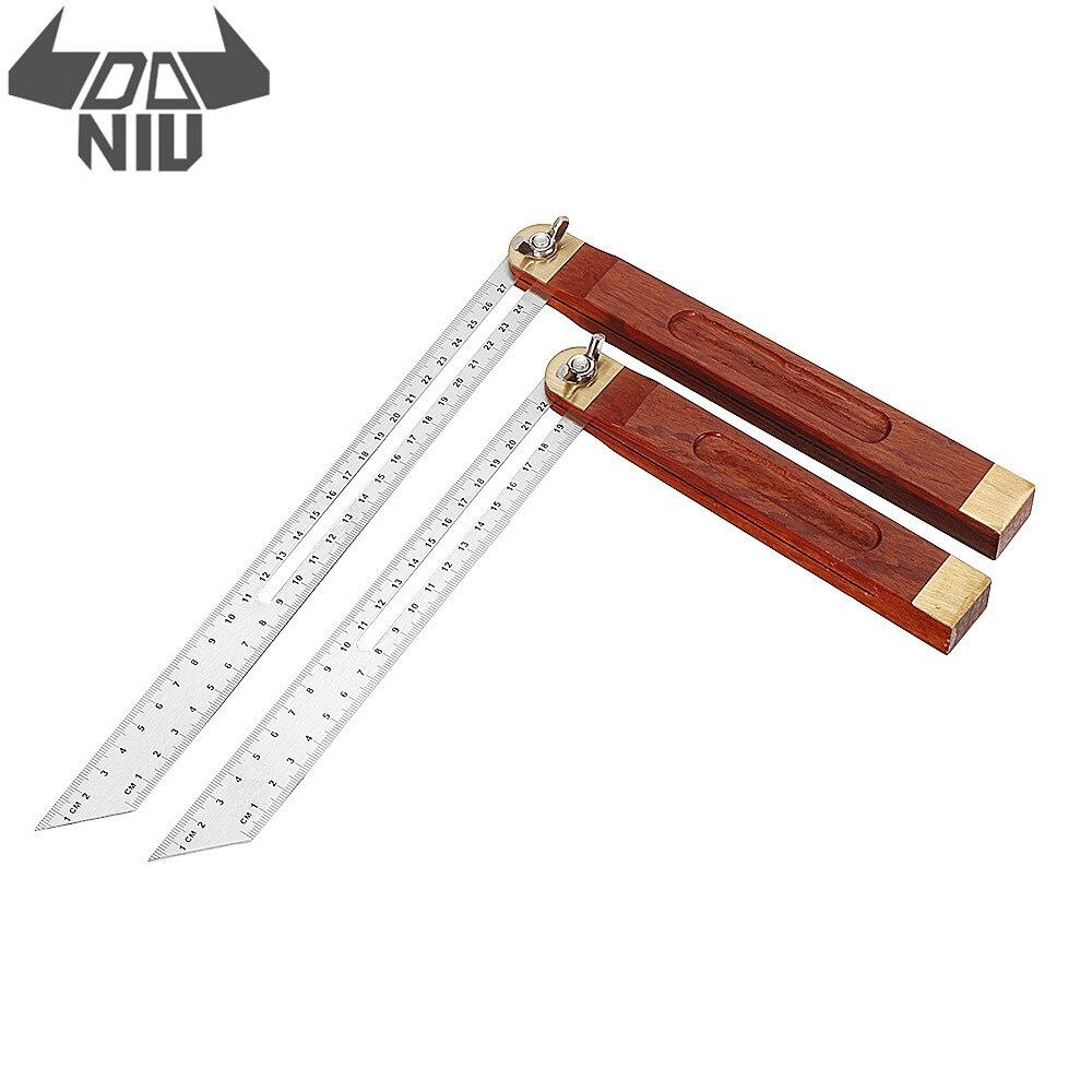 DANIU 0-22/0-27cm Sliding Angle Ruler T Bevel Hardwood Handle Rotatable Engineer Ruler For Woodworking