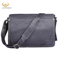 New Fashion Leather Male Casual Messenger bag Satchel Black 13 Laptop Bag School Book Cross body Shoulder bag Men 2088 b