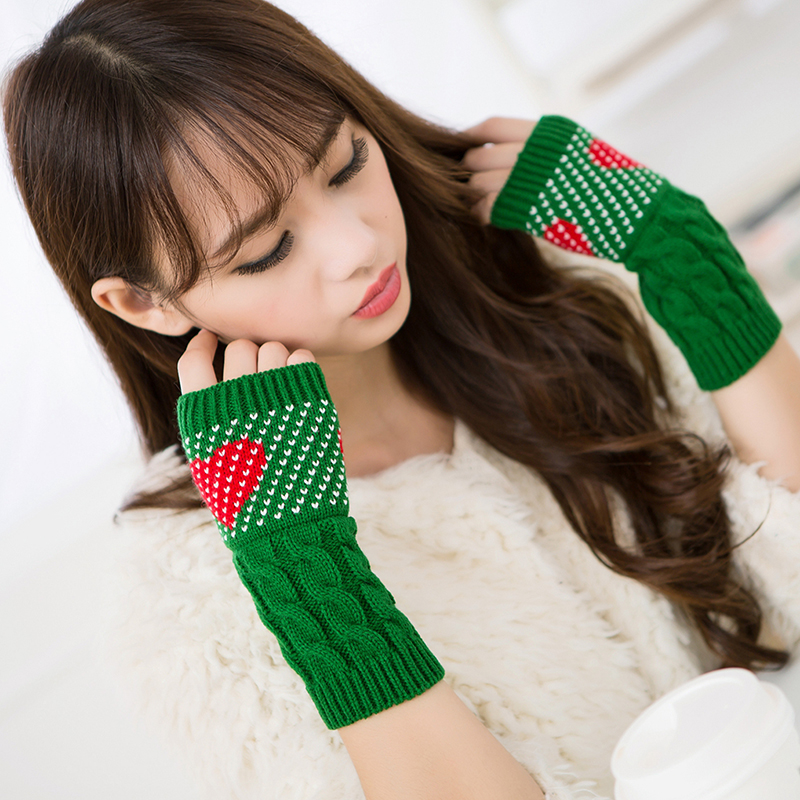 Women Winter Arm Warmers Christmas Cashmere Fingerless Long Gloves Warm Mittens Elbow Thread Knitted Sleeves Heart Type Glove