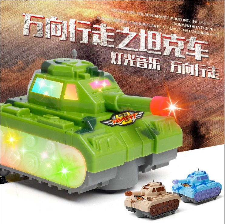 Model Educational Children Military Model Toy Shining Sound Electric Tank Universal Stall Toy Car