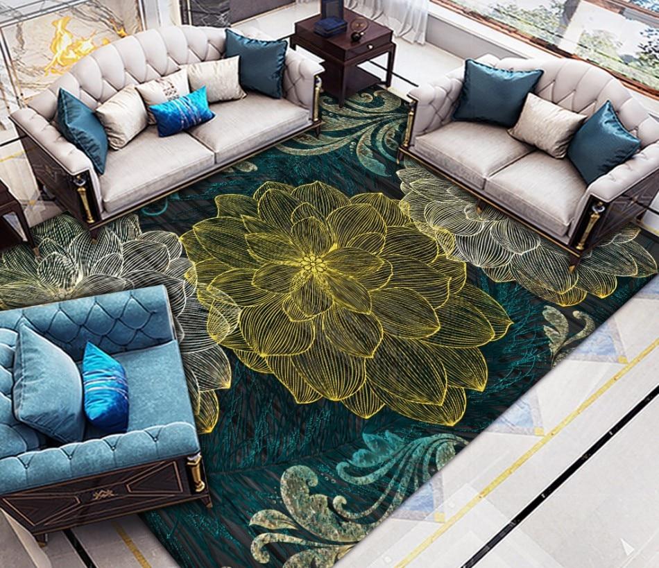 Europeia em Relevo Piso de Carpete Papel de Parede Planta Flor Abstrata Auto-adesivo Pvc