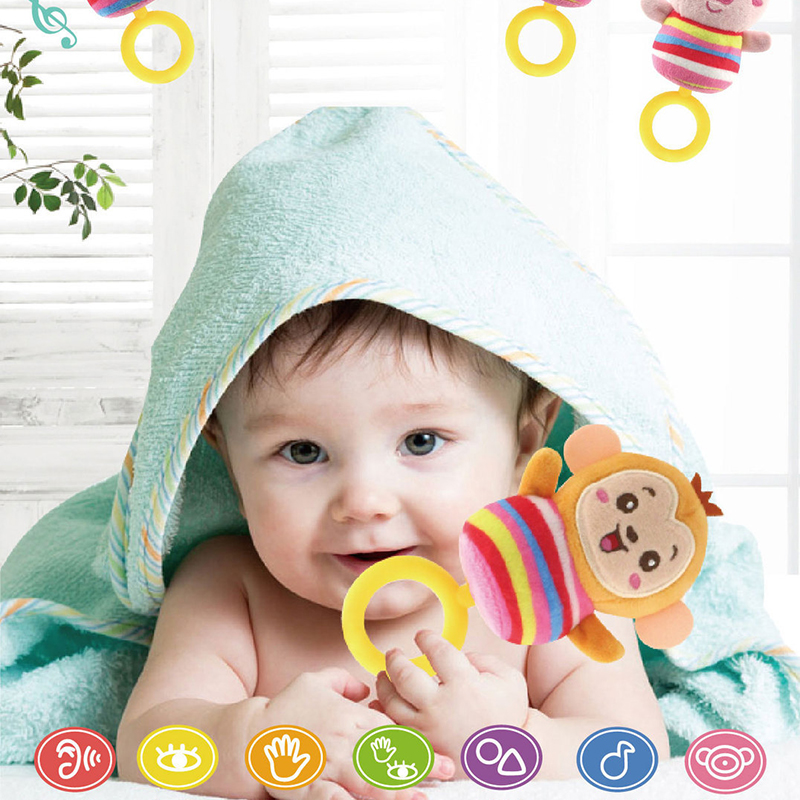 Baby Infant Rattles Toys Cartoon Animal Plush Bed Bell Toy Baby Stroller Crib Hanging Teethers Rattles Baby Toys Gifts