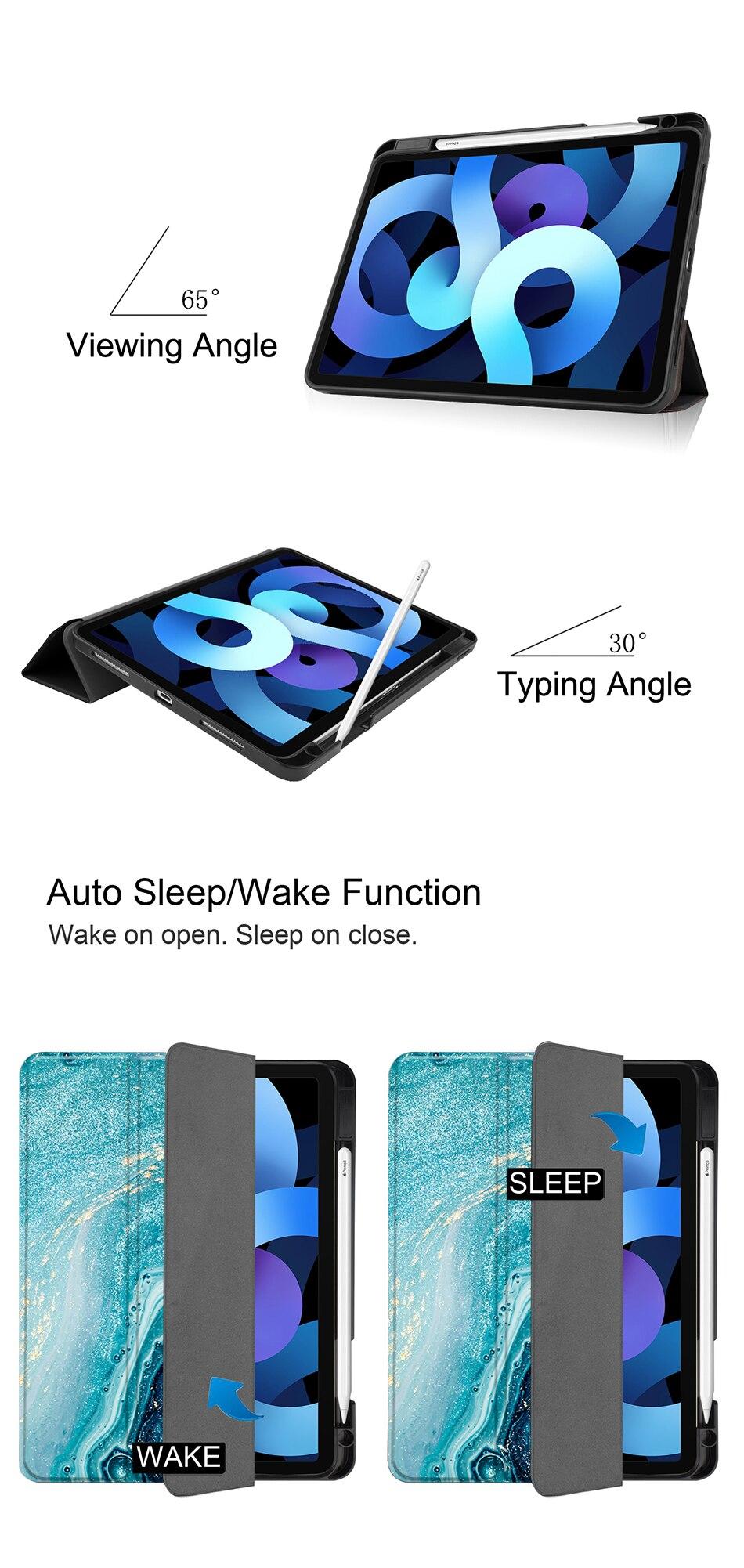 iPad inch funda Air Flip For Case Soft 2020 4th Stand 10.9 Generation TPU+PU Leather MTT