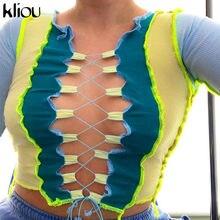 Kliou kadınlar nervürlü Patchwork mahsul Tops sonbahar moda o-boyun uzun kollu Hollow Out bandaj seksi sıcak parti Clubwear kadın Tees