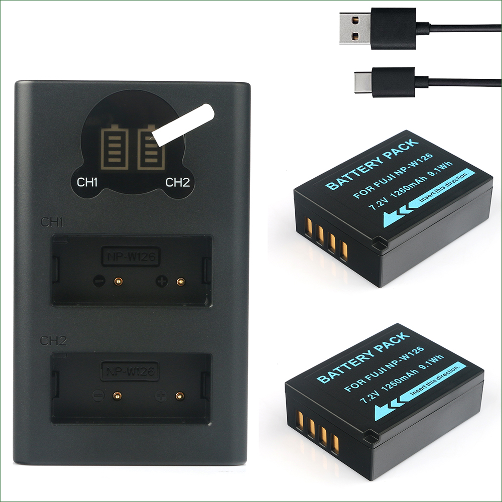 2PCS NP-W126 W126S Battery + Dual Charger for Fujifilm BC-W126 HS30EXR HS33EXR <font><b>HS35EXR</b></font> HS50EXR image