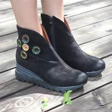 Botas nubuck retro para botas de plataforma de couro das mulheres preto/café
