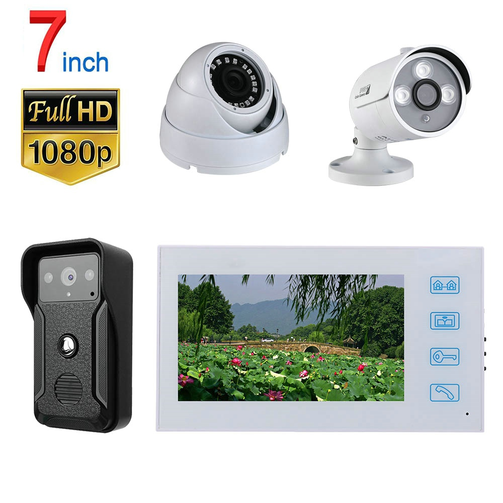 Video Intercom System Kit 7 Inch Record Wired Video Door Phone Doorbell With   AHD 1080P Camera And 2CH Security Camera