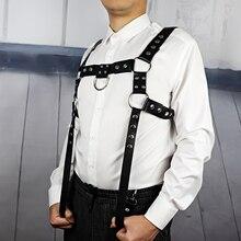 UYEE 에로 가죽 하네스 펑크 벨트 남성용 고딕 바디 본디지 커스텀 케이지 섹시한 가슴 가터 벨트 란제리 클럽웨어 LM 003