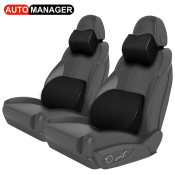 Memory Foam Car Back Support Massage Lumbar Support Cushion Ergonomic Waist Neck Rest Pillow for Auto Seat Office Chair loen 1set of leather memory foam car seat support cover lumbar back cushion office chair lumbar support headrest neck pillow