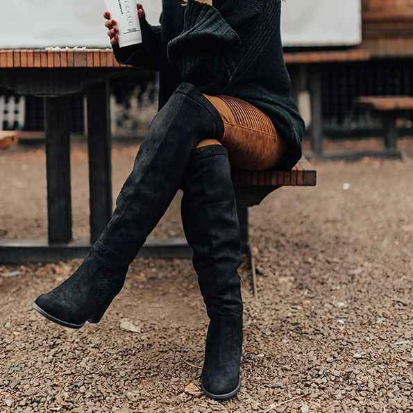 Oeak 2019 Kadın Diz Üzerinde Yüksek Çizmeler Toynak Topuklu Kış Ayakkabı Sivri Burun Seksi Elastik Kumaş Kadın Botları Boyutu 35-43