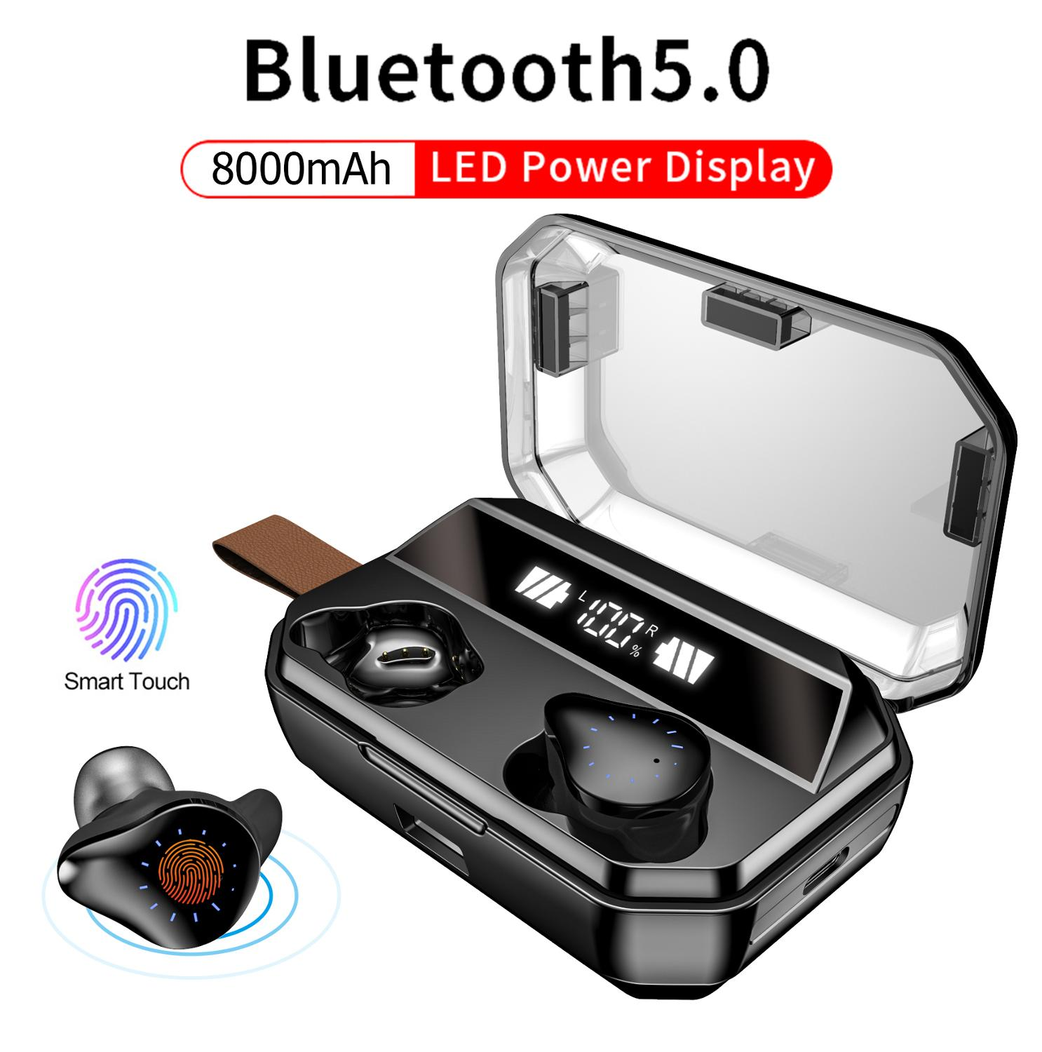 <font><b>X12</b></font> <font><b>TWS</b></font> <font><b>8000mAh</b></font> Earphone Stereo Wireless Bluetooth Earphones Headphones Waterproof Earbuds With LED Display with Mic Touch Key image