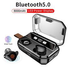 Auriculares TWS X12, inalámbricos por Bluetooth 4000mAh, auriculares impermeables estéreo con pantalla LED y micrófono y tecla táctil